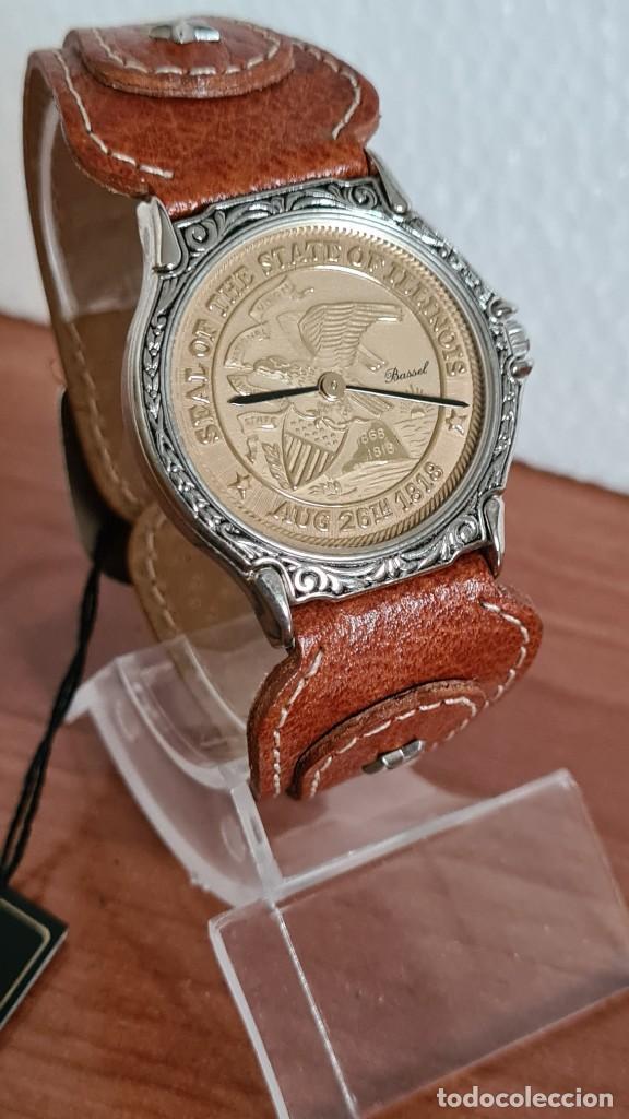 Relojes: Reloj unisex BASSEL de cuarzo acero, esfera una moneda color oro, agujas chapada negras,correa nueva - Foto 5 - 244743835