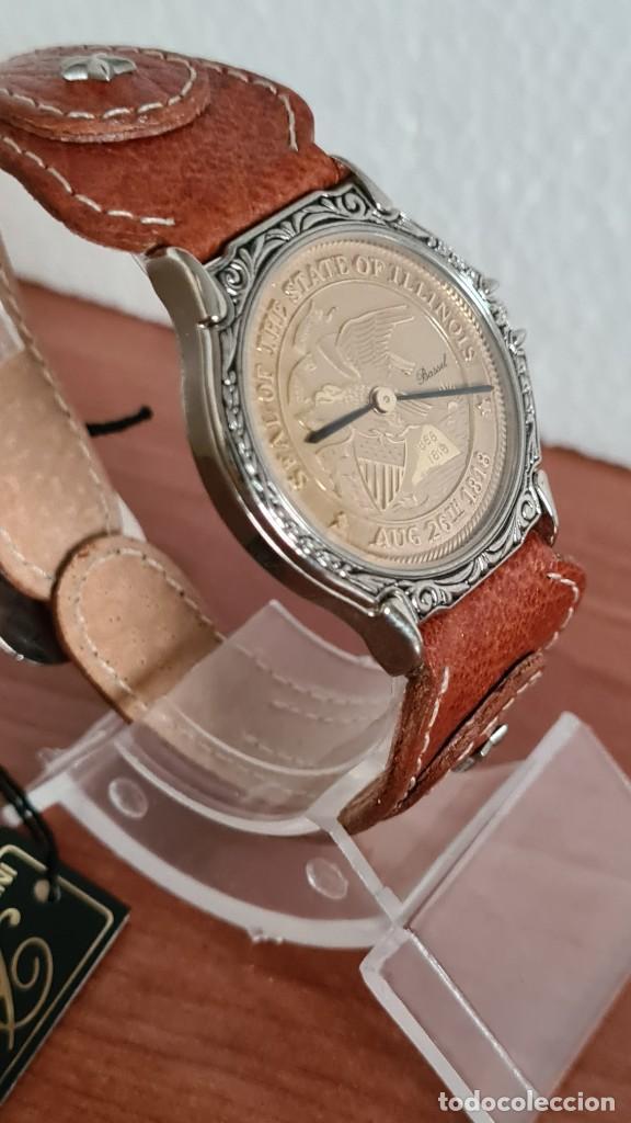 Relojes: Reloj unisex BASSEL de cuarzo acero, esfera una moneda color oro, agujas chapada negras,correa nueva - Foto 7 - 244743835