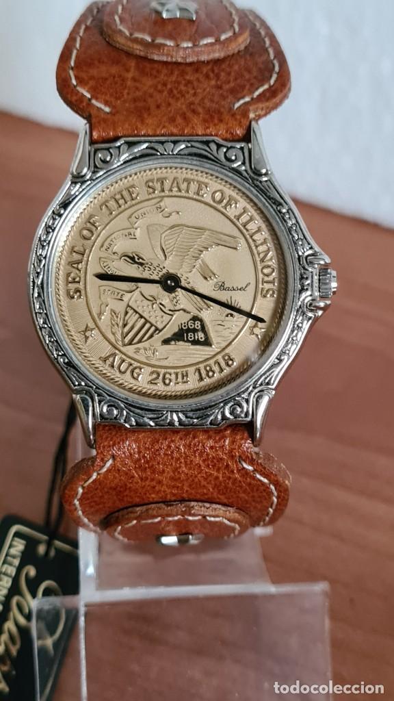 Relojes: Reloj unisex BASSEL de cuarzo acero, esfera una moneda color oro, agujas chapada negras,correa nueva - Foto 9 - 244743835