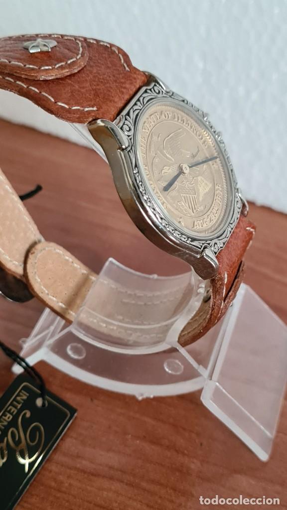 Relojes: Reloj unisex BASSEL de cuarzo acero, esfera una moneda color oro, agujas chapada negras,correa nueva - Foto 10 - 244743835