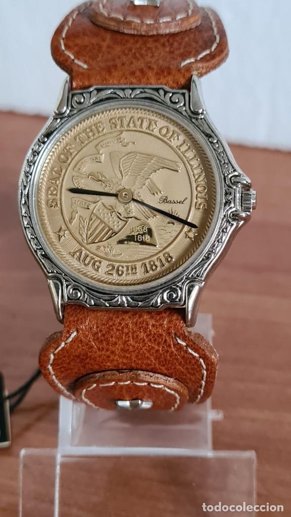 Relojes: Reloj unisex BASSEL de cuarzo acero, esfera una moneda color oro, agujas chapada negras,correa nueva - Foto 12 - 244743835