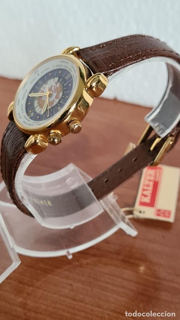 Relojes: Reloj unisex KALTER acero chapado de oro en cuarzo, esfera hora mundial, correa marrón nueva sin uso - Foto 4 - 244753850