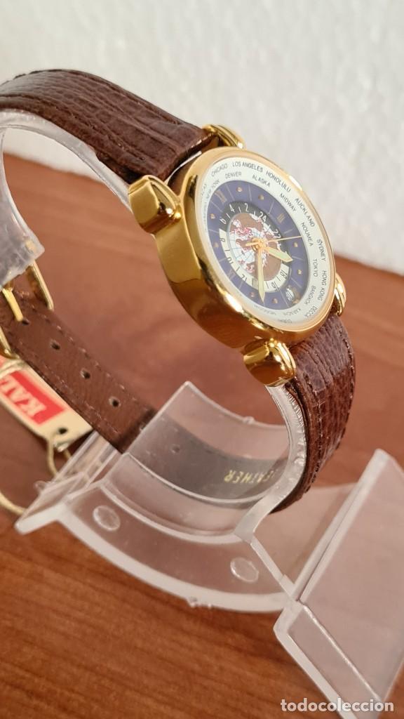Relojes: Reloj unisex KALTER acero chapado de oro en cuarzo, esfera hora mundial, correa marrón nueva sin uso - Foto 5 - 244753850