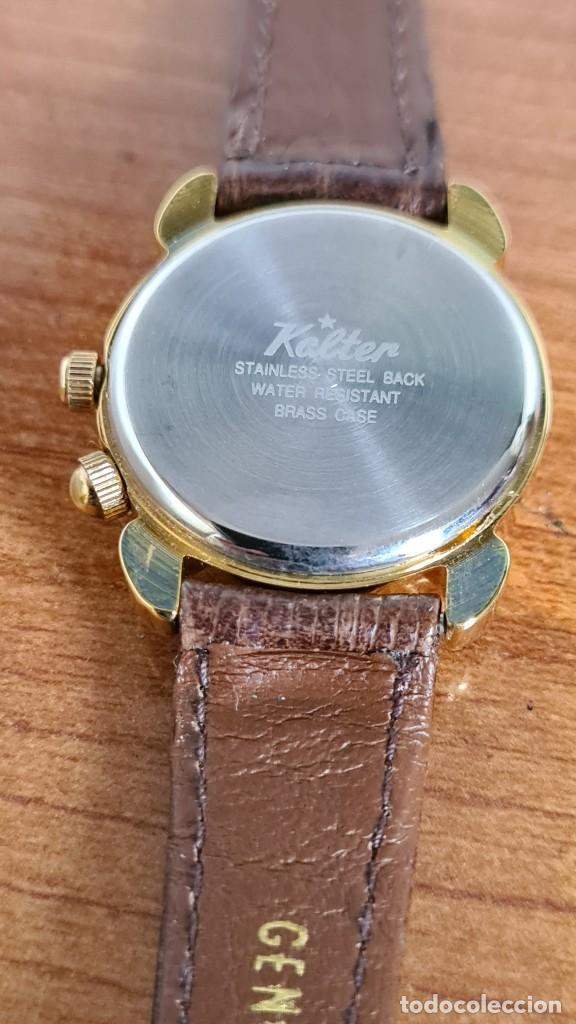 Relojes: Reloj unisex KALTER acero chapado de oro en cuarzo, esfera hora mundial, correa marrón nueva sin uso - Foto 9 - 244753850
