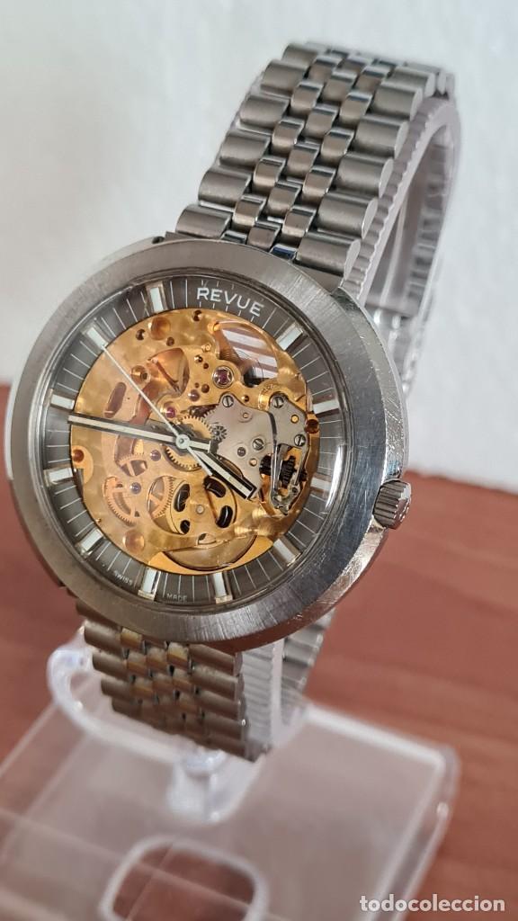 Relojes: Reloj caballero automático REVUE, maquina vista, esfera azul, agujas acero con luminiscente, caja ac - Foto 2 - 244759565