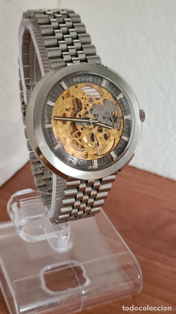 Relojes: Reloj caballero automático REVUE, maquina vista, esfera azul, agujas acero con luminiscente, caja ac - Foto 3 - 244759565