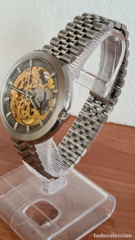 Relojes: Reloj caballero automático REVUE, maquina vista, esfera azul, agujas acero con luminiscente, caja ac - Foto 4 - 244759565