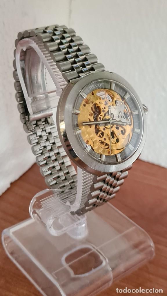 Relojes: Reloj caballero automático REVUE, maquina vista, esfera azul, agujas acero con luminiscente, caja ac - Foto 5 - 244759565