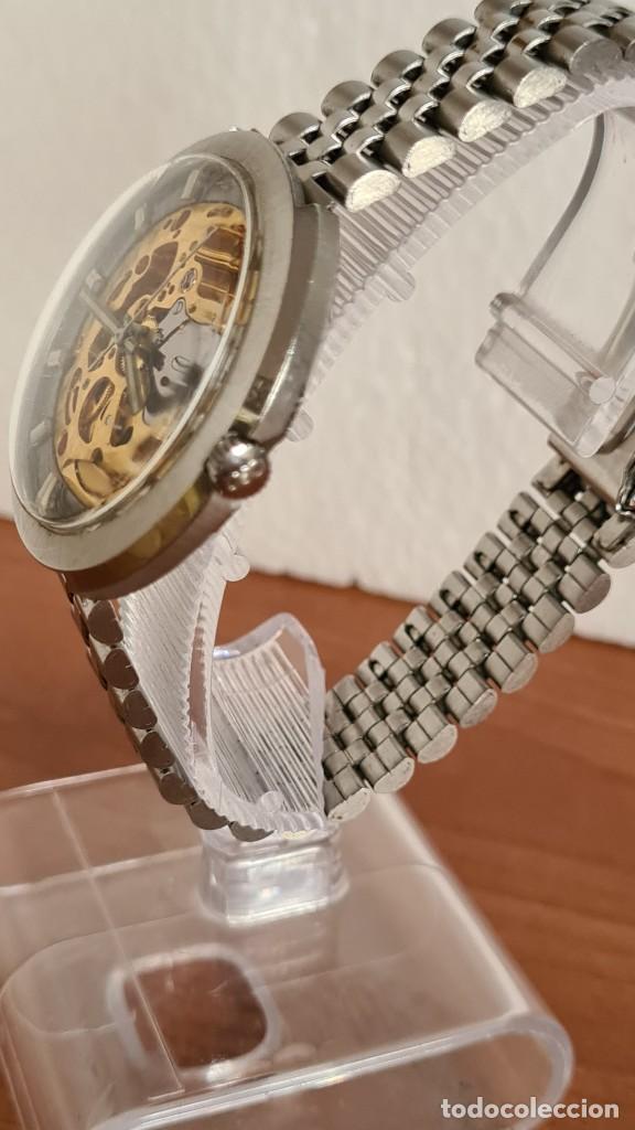 Relojes: Reloj caballero automático REVUE, maquina vista, esfera azul, agujas acero con luminiscente, caja ac - Foto 6 - 244759565