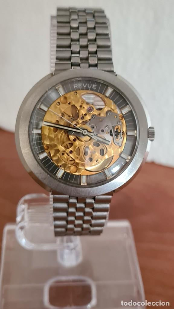 Relojes: Reloj caballero automático REVUE, maquina vista, esfera azul, agujas acero con luminiscente, caja ac - Foto 9 - 244759565