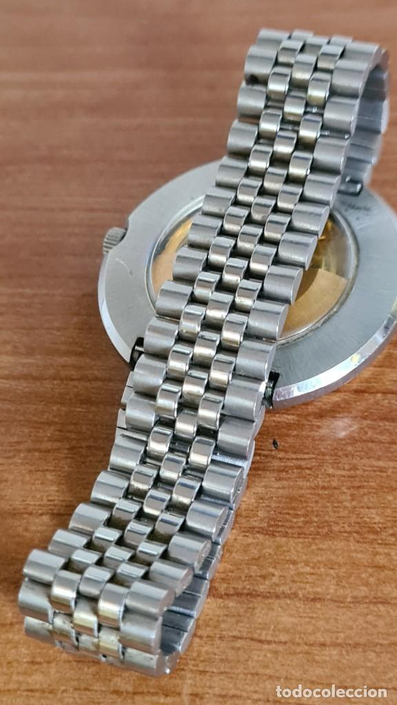Relojes: Reloj caballero automático REVUE, maquina vista, esfera azul, agujas acero con luminiscente, caja ac - Foto 12 - 244759565