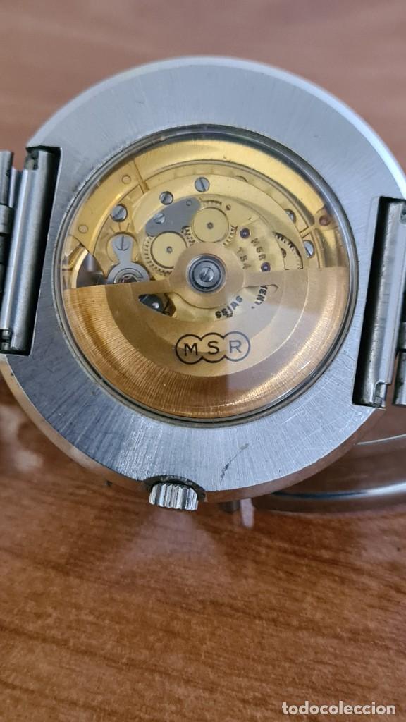 Relojes: Reloj caballero automático REVUE, maquina vista, esfera azul, agujas acero con luminiscente, caja ac - Foto 14 - 244759565