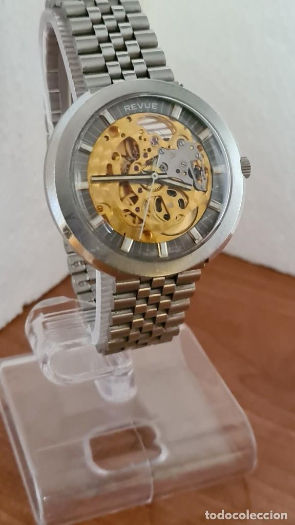 Relojes: Reloj caballero automático REVUE, maquina vista, esfera azul, agujas acero con luminiscente, caja ac - Foto 15 - 244759565