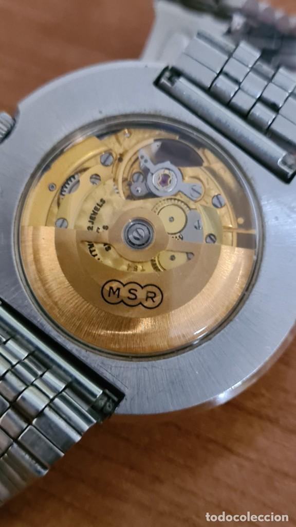 Relojes: Reloj caballero automático REVUE, maquina vista, esfera azul, agujas acero con luminiscente, caja ac - Foto 16 - 244759565