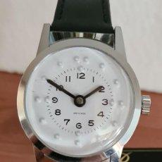 Relojes: RELOJ (VINTAGE) DE CUERDA BASSEL DE CUERDA PARA INVIDENTE, ACERO, ESFERA BLANCA EN BRAILLE, CORREA.. Lote 244790465