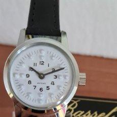 Relojes: RELOJ (VINTAGE) DE CUERDA BASSEL DE CUERDA PARA INVIDENTE, ACERO, ESFERA BLANCA EN BRAILLE, CORREA.. Lote 244821920