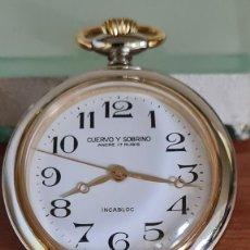 Relojes: RELOJ DE BOLSILLO CUERVO Y SOBRINO DE CUERDA MANUAL, ESFERA BLANCA, DE 17 RUBIS, CALIBRE FHF 969-4N.. Lote 244839865