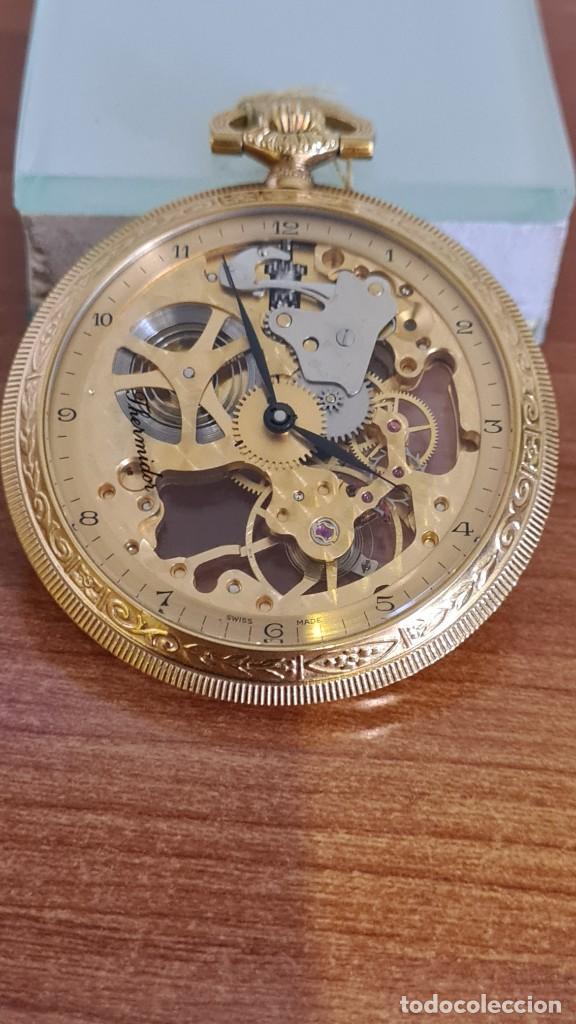 RELOJ BOLSILLO THERMIDOR CUERDA MANUAL SUIZO MÁQUINA VISTA CHAPADO DE ORO 20 MICRAS, 17 RUBIS INCA. (Relojes - Relojes Actuales - Otros)