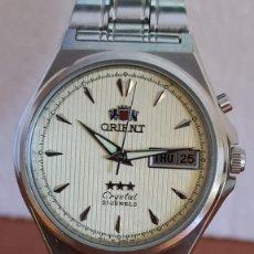 Relojes: RELOJ CABALLERO (VINTAGE) ORIENT AUTOMATICO ACERO DOBLE CALENDARIO A LAS TRES, CORREA ACERO ORIGINAL. Lote 244879035