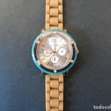 Relojes: RELOJ CORREA CAUCHO CAMEL Y VERDE EN ACERO ORO ROSA. GEORGIE VALENTIAN. ESFERA PLATEADA. SIGLO XXI. Lote 246929655