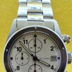 Relojes: RELOJ CABALLERO CUARZO FISURA EN ACERO CRONÓGRAFO ESFERA BLANCA CON TRES SUBESFERAS, CORREA ORIGINAL. Lote 248015015