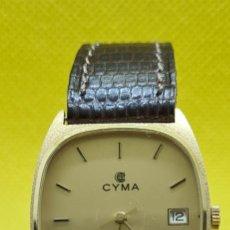 Relojes: RELOJ CABALLERO CYMA DE CUARZO EN ORO 18K, ESFERA CHAMPÁN, CORONA ORIGINAL CYMA, CORREA CUERO MARRÓN. Lote 248049650