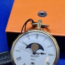 Relojes: RELOJ BOLSILLO BASSEL CUARZO, ESFERA BLANCA, CALENDARIO SEIS Y FACE LUNAR DOCE,CHAPADO ORO 20 MICRAS. Lote 248498705