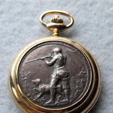 Relojes: RELOJ DE BOLSILLO CAZADOR CON PERRO. MARCA CONTEX. CUARZO.. Lote 251377430