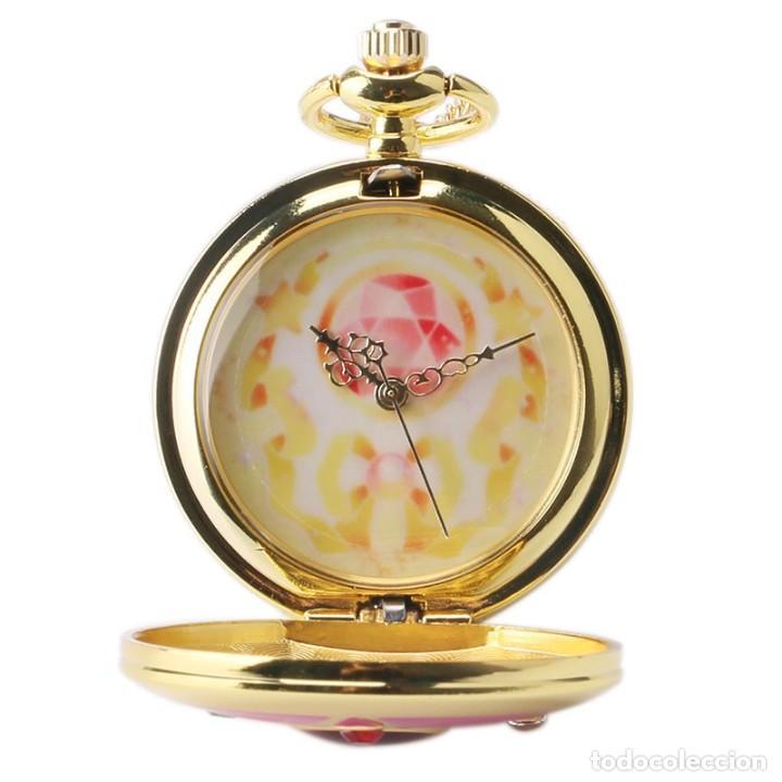 Relojes: Reloj de bolsillo pentagrama dorado sobre fucsia Sailor Moon NUEVO - Foto 5 - 252080400