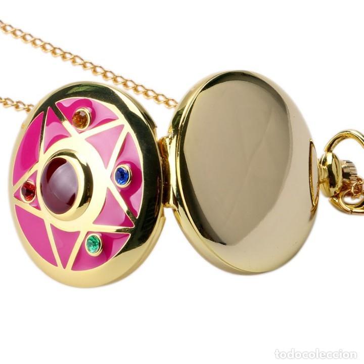Relojes: Reloj de bolsillo pentagrama dorado sobre fucsia Sailor Moon NUEVO - Foto 6 - 252080400