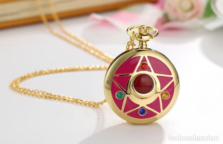 Relojes: Reloj de bolsillo pentagrama dorado sobre fucsia Sailor Moon NUEVO - Foto 7 - 252080400