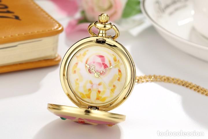 Relojes: Reloj de bolsillo pentagrama dorado sobre fucsia Sailor Moon NUEVO - Foto 8 - 252080400