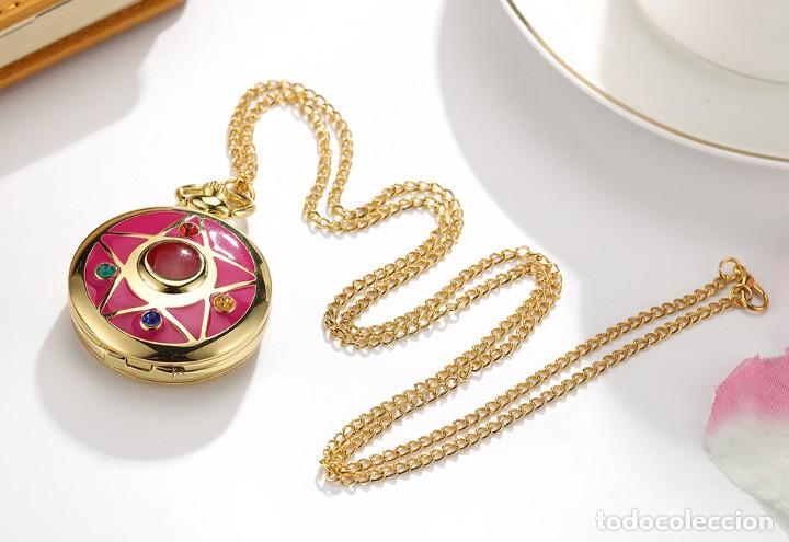 Relojes: Reloj de bolsillo pentagrama dorado sobre fucsia Sailor Moon NUEVO - Foto 9 - 252080400