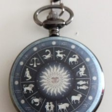 Relojes: RELOJ DE BOLSILLO SÍMBOLOS DEL ZODIACO NUEVO. Lote 252102230