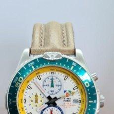 Relojes: RELOJ CABALLERO (VINTAGE) TIME FORCE CUARZO CRONOGRAFO, ACERO, CALENDARIO LAS TRES, CORREA CUERO.. Lote 253552240