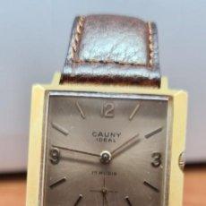 Relojes: RELOJ UNISEX (VINTAGE) CAUNY IDEAL CHAPADO ORO 10 MICRAS DE CUERDA, 17 RUBIS, CORREA CUERO MARRÓN.. Lote 253703325
