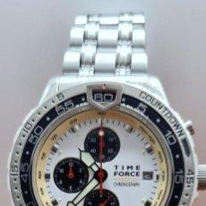 Relojes: RELOJ CABALLERO (VINTAGE) TIME FORCE CUARZO CRONOGRAFO, ACERO, CALENDARIO LAS TRES, CORREA ACERO.. Lote 253707270