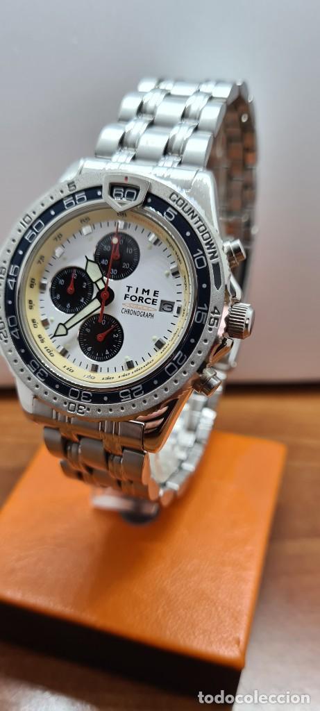 Relojes: Reloj caballero (Vintage) TIME FORCE cuarzo cronografo, acero, calendario las tres, correa acero. - Foto 2 - 253707270