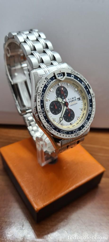 Relojes: Reloj caballero (Vintage) TIME FORCE cuarzo cronografo, acero, calendario las tres, correa acero. - Foto 3 - 253707270