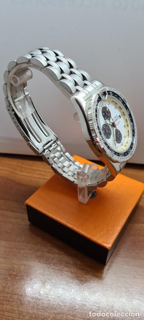 Relojes: Reloj caballero (Vintage) TIME FORCE cuarzo cronografo, acero, calendario las tres, correa acero. - Foto 7 - 253707270