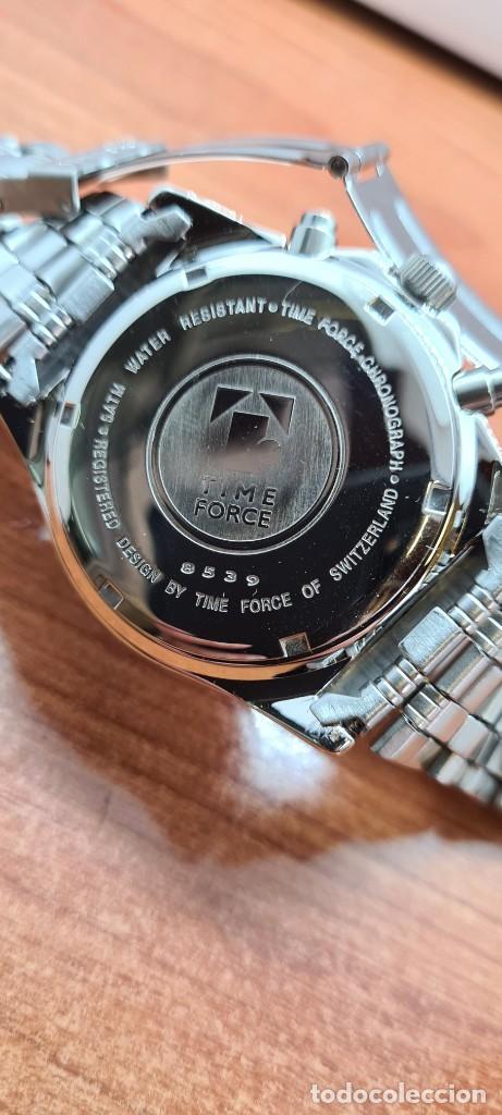 Relojes: Reloj caballero (Vintage) TIME FORCE cuarzo cronografo, acero, calendario las tres, correa acero. - Foto 9 - 253707270