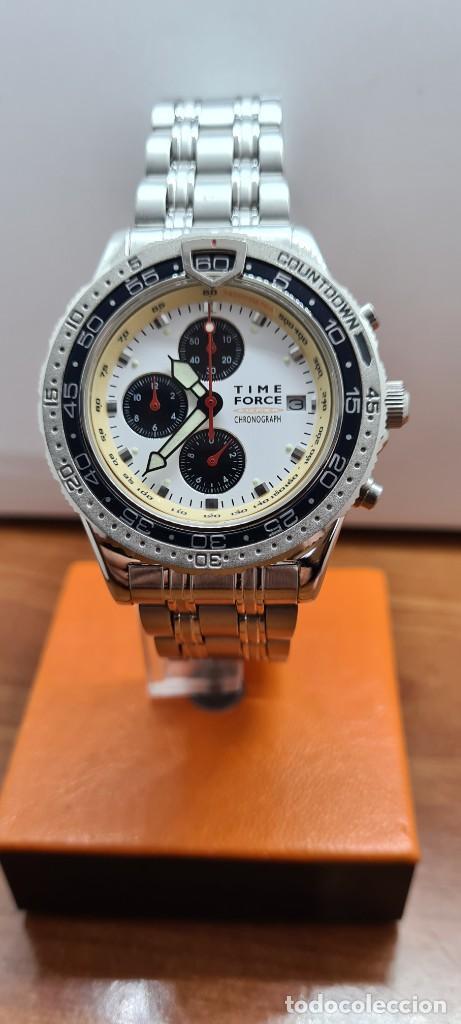 Relojes: Reloj caballero (Vintage) TIME FORCE cuarzo cronografo, acero, calendario las tres, correa acero. - Foto 10 - 253707270