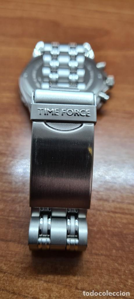 Relojes: Reloj caballero (Vintage) TIME FORCE cuarzo cronografo, acero, calendario las tres, correa acero. - Foto 12 - 253707270