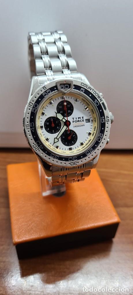 Relojes: Reloj caballero (Vintage) TIME FORCE cuarzo cronografo, acero, calendario las tres, correa acero. - Foto 13 - 253707270