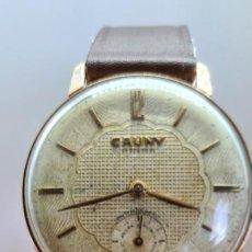Relojes: RELOJ CABALLERO (VINTAGE) CAUNY PRIMA, CHAPADO ORO 10 MICRAS DE CUERDA, 17 RUBIS, CORREA CUERO. Lote 253796915