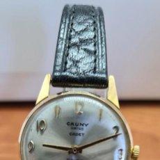 Relojes: RELOJ UNISEX (VINTAGE) CAUNY PRIMA CHAPADO ORO 10 MICRAS DE CUERDA, 17 RUBIS, CORREA CUERO NEGRA.. Lote 253804015