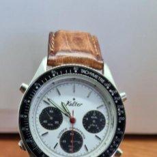 Relojes: RELOJ CABALLERO KALTER ACERO CUARZO, ESFERA BLANCA CON TRES SUBESFERAS NEGRAS, BISEL FIJO Y NEGRO.. Lote 253810585