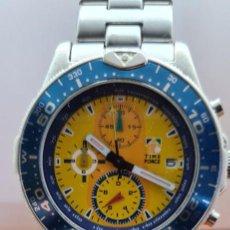 Relojes: RELOJ CABALLERO (VINTAGE) TIME FORCE CUARZO CRONOGRAFO, ACERO, CALENDARIO LAS TRES, CORREA CUERO.. Lote 253825535