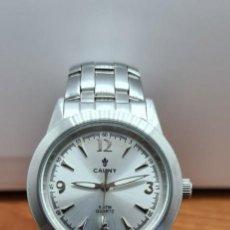 Relojes: RELOJ CABALLERO DE CUARZO CAUNY ACERO CON ESFERA BLANCA, CORONA DE ROSCA, CORREA ORIGINAL DE ACERO.. Lote 253873745