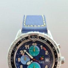 Relojes: RELOJ CABALLERO (VINTAGE) TIME FORCE CUARZO CRONOGRAFO, ACERO, CALENDARIO LAS TRES, CORREA ORIGINAL.. Lote 253905450